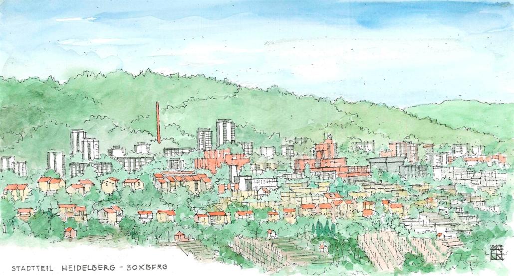 Zeichnung der Stadt Boxberg, erstellt von Herrn Quast, zu finden im Stadtteilmanagement Boxberg